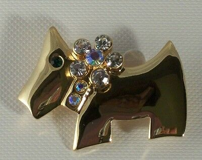 Scottie Dog Pin Brooch Gold Plated with Aurora Borealis Crystals
