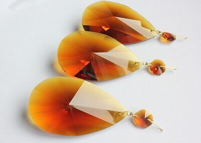 """Amber Crystal Almond 3.0""""Glass Ornament 76Mm Chandelier Prism 5Pcs"""