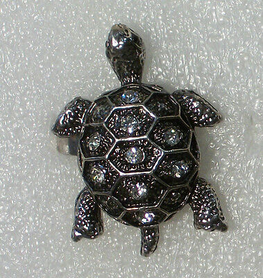 Clear Crystals in Silver Plate Turtle Ring Size 7 1/2 adjusts