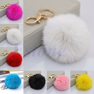 Rabbit Fur Soft Plush Ball Car Pendant Handbag PomPom Charm Key Chain Key Ring