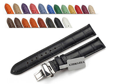 Genuine Leather Strap Deployant Watch Band 14mm 16mm 18mm 19mm 20mm 21mm 22mm