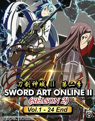 DVD Sword Art Online II (Season 2) Vol. 1 - 24 End Action Sci-fic Anime Box set