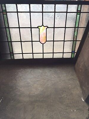 "Sg 244 Antique Transom Stainglass Window 28"" X 44.25"""