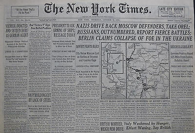 10-1941 WWII October 9 GERMANS DRIVE BACK MOSCOW DEFENDERS TAKE OREL; RUSSIANS
