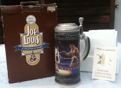 1993 Budweiser Lidded Joe Louis Boxing Stein, Sports Legends Series-NEW with COA