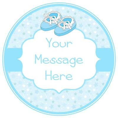 ND1 Baby Boy shower christening baptism  personalised round cake topper icing