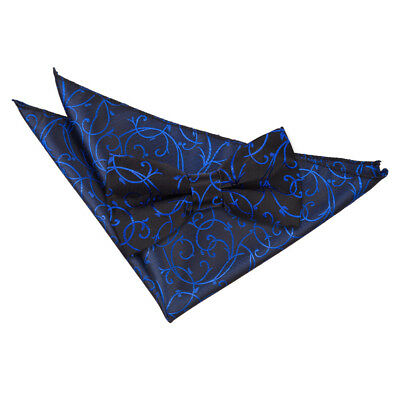New Dqt Swirl Men's Pre-Tied Wedding  Bow Tie & Hanky Set - Black & Blue