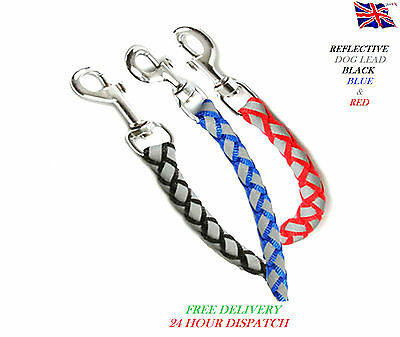 Strong Dog Pet Lead Rope Leash Puppy Nightsafe Braided Reflective Red Blue Black