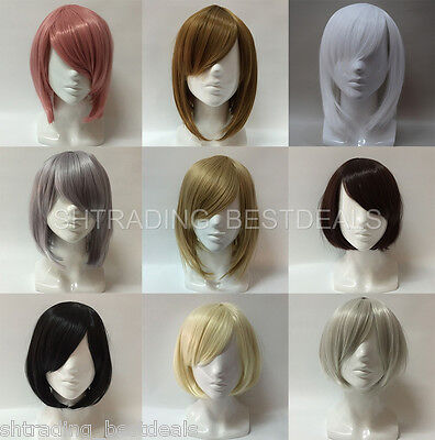 Women s Short Heat Resistant Synthetic Straight Bob Wigs with Side Bangs 8bc1518da8