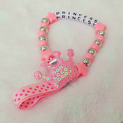 Personalised Stunning Crown pink Dummy Clip Chain Any Name for reborn dolls