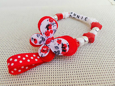 Personalised Stunning butterfly Red Dummy Clip Chain Any Name for reborn dolls