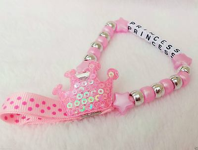 Personalised Beautiful Crown Baby Pink Dummy Clip Strap for reborn dolls