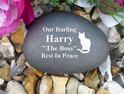 Cat Memorial - Small Pebble (Stone Effect) - Personalised - Weatherproof