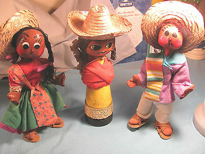 3-  VINTAGE    HAND MADE MEXICAN DOLLS  1-  WOODEN
