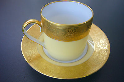FABRIQUE ROYALE DE LIMOGES CUP AND SAUCER YELLOW AND GOLD