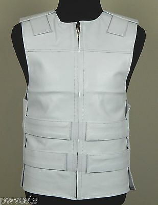 WHITE - Leather - Bulletproof Style Motorcycle Vest