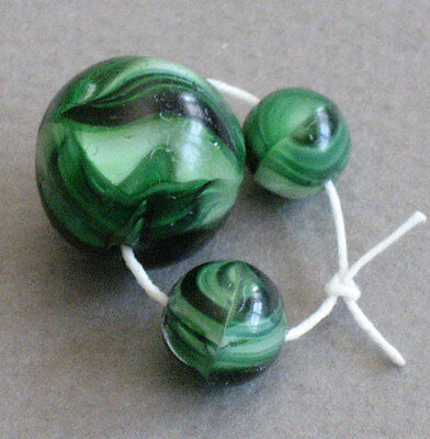 3 Bohemian Glass Trade Beads Marbles Vintage