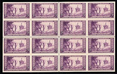 US 755 3c Wisconsin Farley Issue Centerline Block of 16 Unused VF-XF NGAI