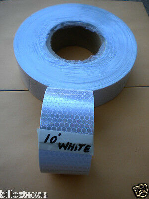 White Silver 10' Roll Reflective Conspicuity Tape Safety *fast Free Shipping**