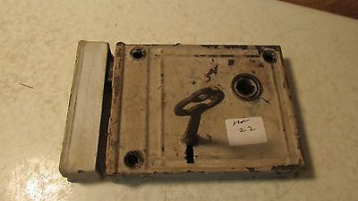 Antique Cast Iron Rim Lock & Key  No. 22