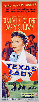 TEXAS LADY 1955 Claudette Colbert Barry Sullivan US INSERT POSTER
