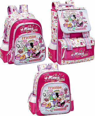 Minnie Mouse Pink Backpack Daisy Official Rucksack Disney Lunch Bag Set School