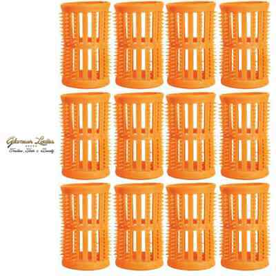 HAIR TOOLS 12 x 40mm Hair Setting Rollers & Plastic Pins For Curls - Peach