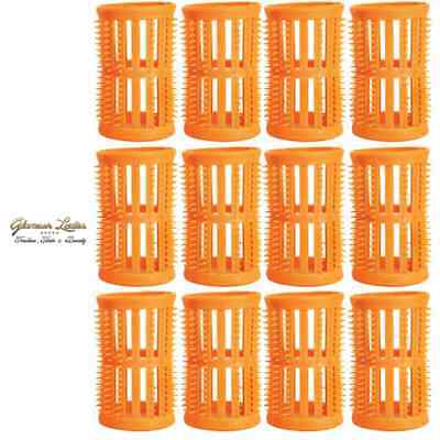 Hair Setting Rollers & Plastic Pins For Curls Peach 40mm Pack Of 12 Hair Tools