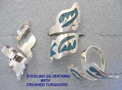 HANDCRAFTED STERLING SILVER RING WITH CRUSHED TURQUOISE (Style # R993-SS)
