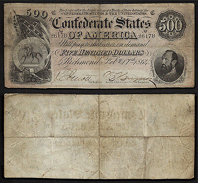 $500 1864 Confederate==T-64==STONEWALL JACKSON==VF