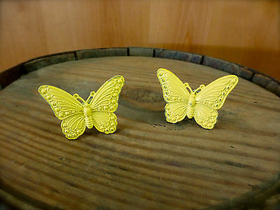 2 YELLOW VINTAGE-STYLE BUTTERFLY DRAWER CABINET PULL HANDLE KNOB garden hardware