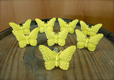 8 YELLOW VINTAGE-STYLE BUTTERFLY DRAWER CABINET PULL HANDLE KNOB garden hardware