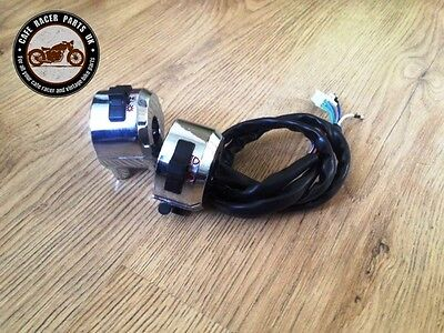 "Chrome Universal Bike Motorcycle Handle Bar Switch Control 22mm 7/8"" Cafe Racer"
