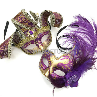 Purple Trimmed Venetian Masquerade Jester Mask Carnival Mardi Gras Costume Party