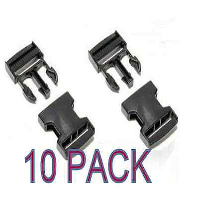 10 x BLACK 25 mm PLASTIC SIDE RELEASE BUCKLES QUICK RELEASE - FOR WEBBING