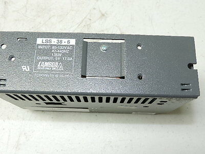 LAMBDA LSS-38-6 POWER SUPPLY Tested Good, 17 A @ 6 VDC Out, 85-132 VAC IN 135W