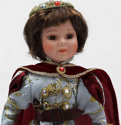 """COLLECTIBLE CERAMIC LIMITED ADDITION LOUIS PRINCE DOLL IN BLUE 16"""" KK16502"""