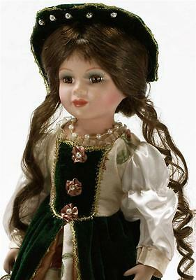 """COLLECTIBLE CERAMIC LIMITED ADDITION VICTORIAN PRINCESS DOLL IN GREEN 16"""" KK6504"""