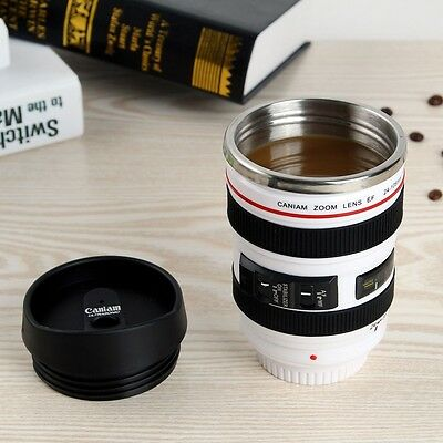 Camera Lens Cup 24-105 White Coffee Tea Mug Stainless Steel Thermos & Lens Lid