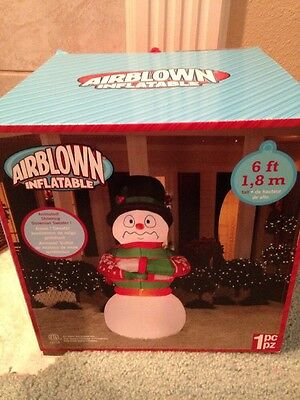 Christmas Airblown Inflatable 6 Ft Shivering Snowman In Sweater NIB