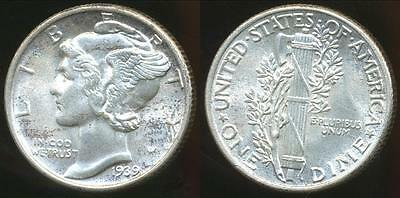 United States, 1939 Dime, Mercury (Silver) - Choice Uncirculated