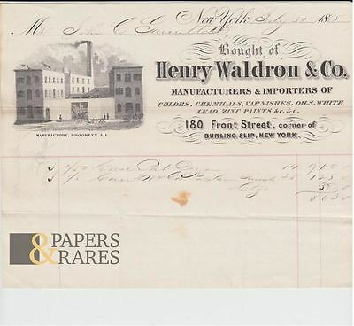 Invoice; New York, 1865, Henry Waldron & Co., Manufacturers of Chemicals, Colors
