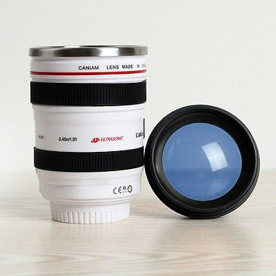Camera Lens Cup 24-105 White Coffee Tea Mug Stainless Steel Thermos US Seller