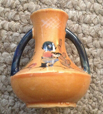 """VINTAGE~DOUBLE HANDLED~MINIATURE VASE~MADE IN JAPAN~4"""" TALL~HANDPAINTED"""