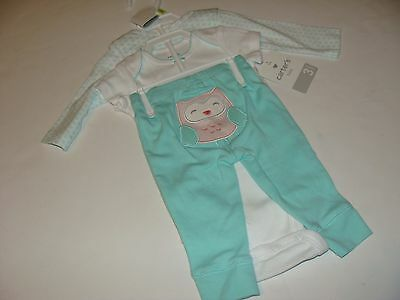 Carter's Carters Girls Size 9 Months 2 Tops Auntie's Lady Pants NWT 3 Piece Set