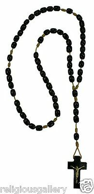 Mens Black Wood Beads Rosary Catholic Crucifix Prayer Made in Brazil, 19 Inch