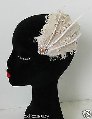 Nude Cream Ivory Veil Net Feather Fascinator Hair Clip Vintage Headpiece 20s N73