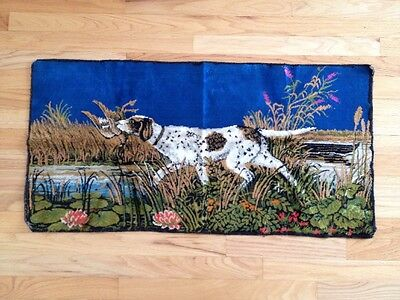 "Vintage Tapestry Wall Hanging Hunting Dog Retrieving Bird 19"" X 38"""