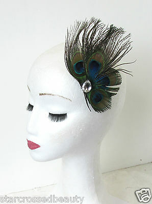 Real Peacock Feather Fascinator Hair Clip Vintage Races Silver 1920s Blue N79