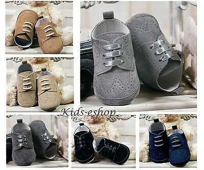 Baby Boys Grey Graphite Navy Beige Suede Pram Shoes Christening Wedding Smart
